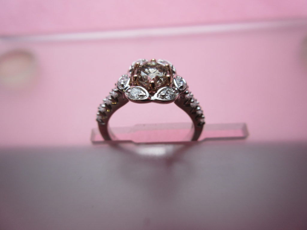 Engagement Ring Under $3500 White 14 Karat Fancy Halo Ring With e 0 79Ct R