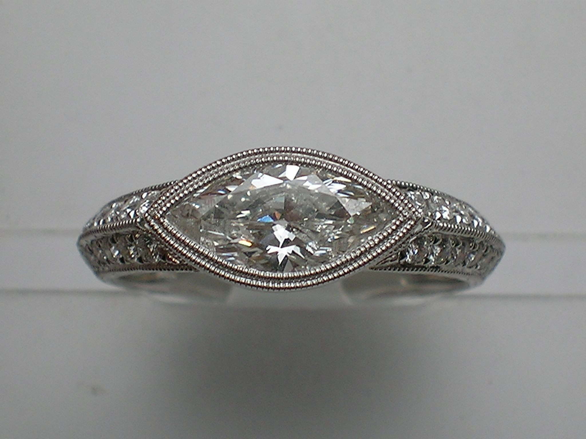 East West Setting With One 1 07ct Marquise F Vs2 Diamond