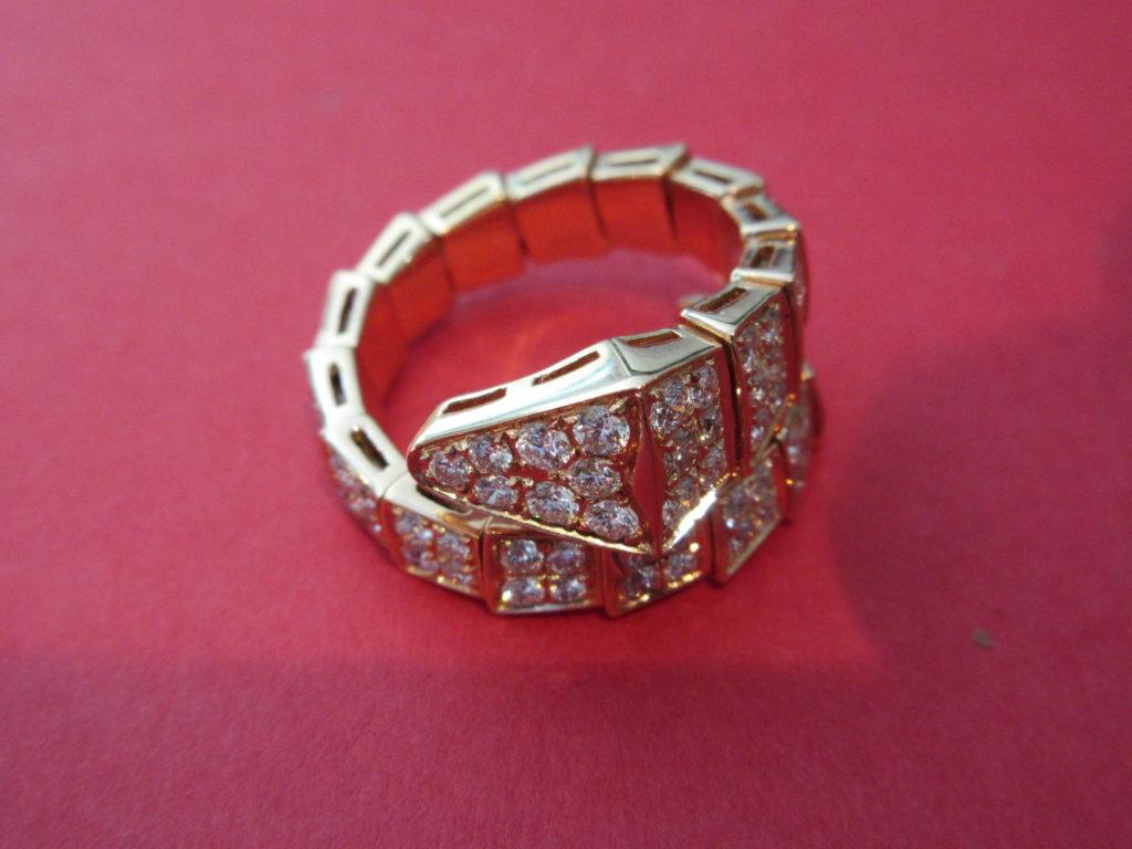 BVLGARI Style Rose Gold 18 Karat Flexible Snake Ring With 1.71Tw ...