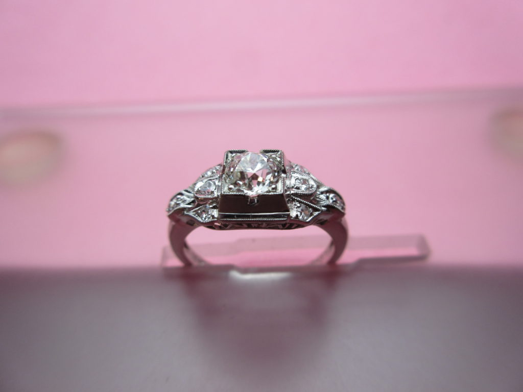Engagement Ring Under $2700, White 18 Karat Estate Ring With One Old ...