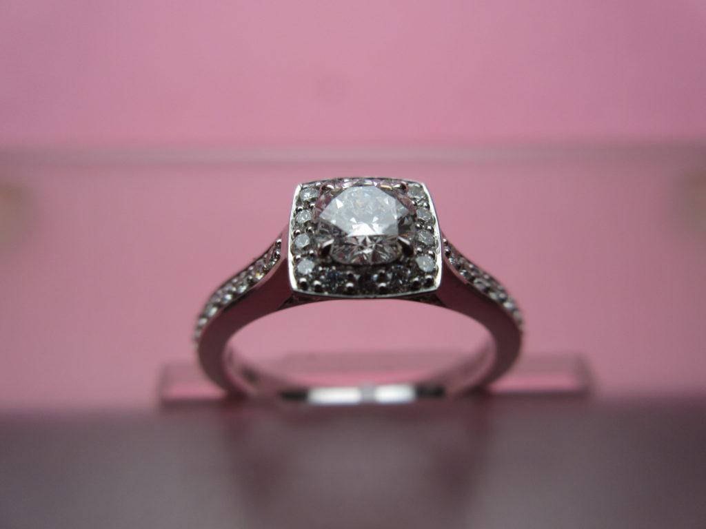 Engagement Ring Under $3050, White 18 Karat Square Halo Ring With ...