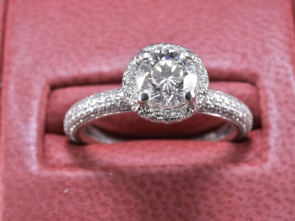 Antique Enduring Filigree, .91CT Round Engagement Ring Set in ...