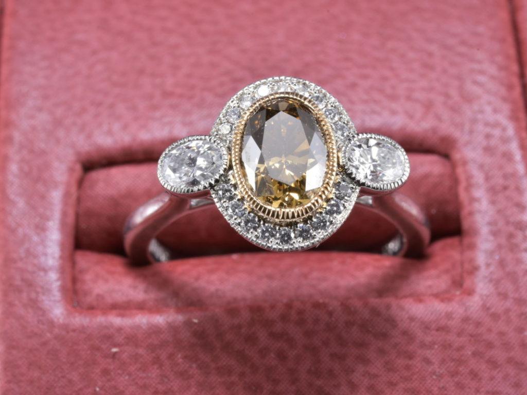 Rare Antique Cognac Oval Diamond Platinum Engagement Ring - Diana ...