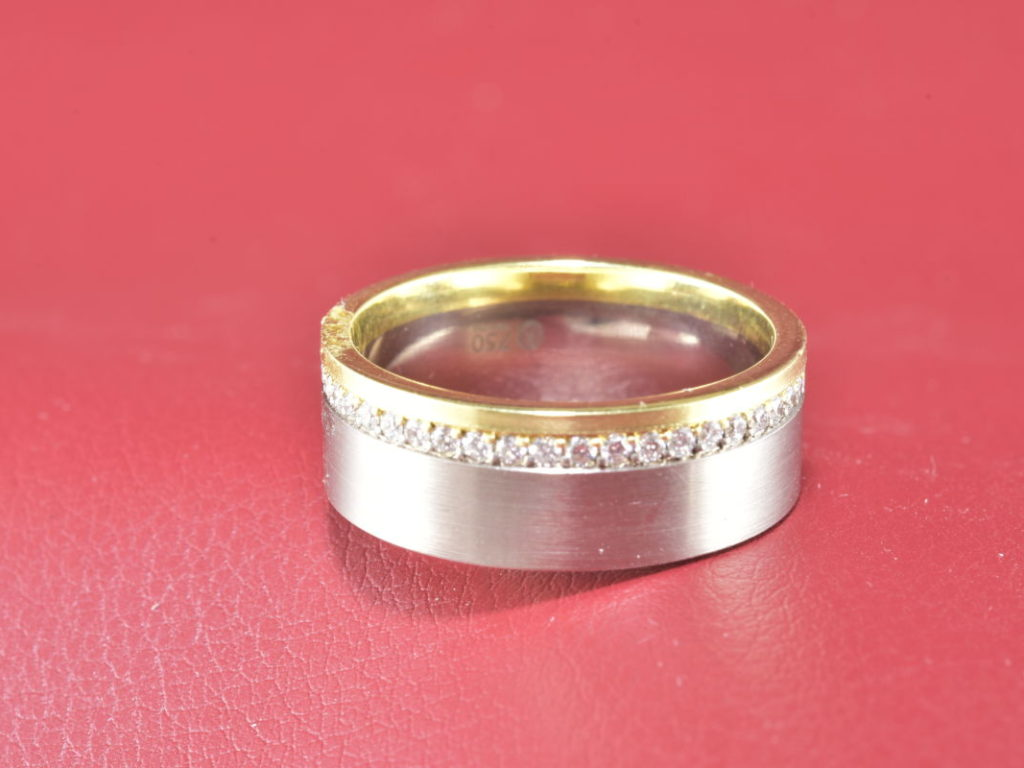 Two Tone 18Kt Gold Wedding Band With Diamonds Satin Finish By ...