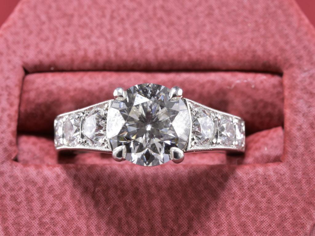 Classy Diamond Ring with 2.05ct Round Center Diamond Set in Platinum ...