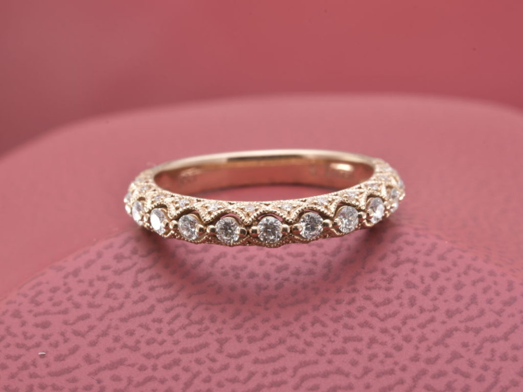 Artfully Crafted Diamond Wedding Band in 14kt Rose Gold - Diana ...