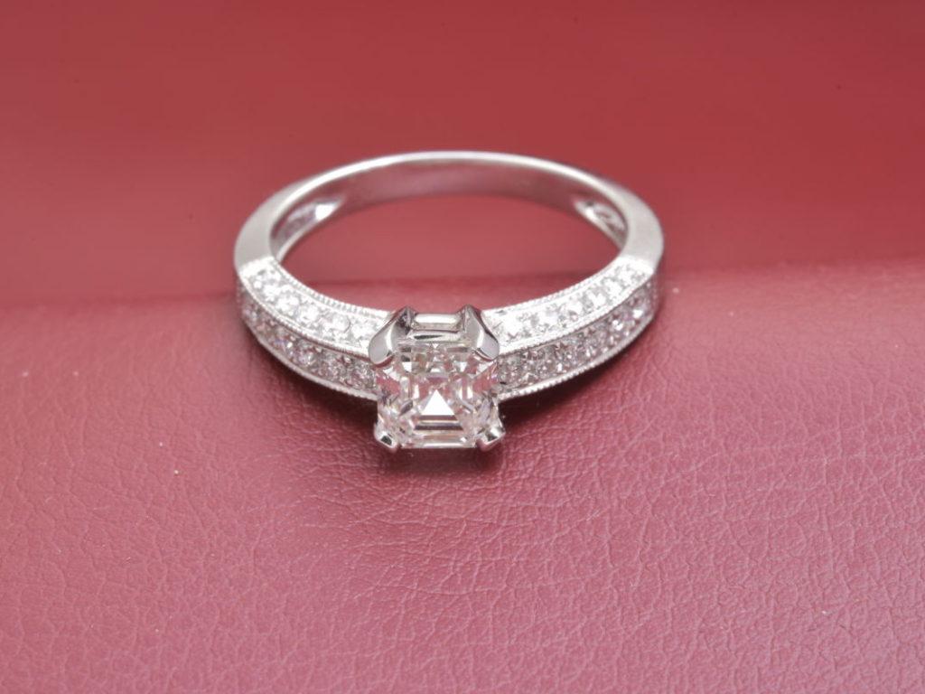 Rare Asscher Cut Center 1.01ct. Diamond With Millgrain Trim - Diana ...