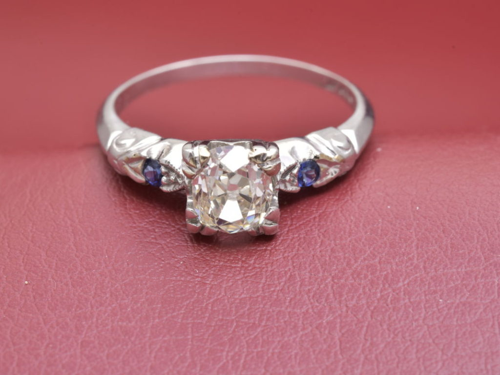 Circa 1930 Platinum Ring with Side Sapphires - Diana Michaels Jewelers