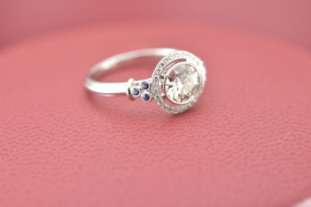 93b7fcc5682 In Pristine Condition White 14 Karat Estate Ring With One Old European Cut  0.85Ct Diamond