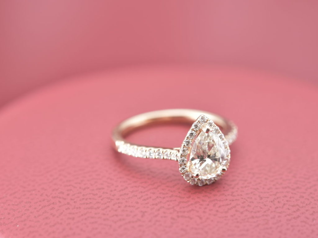Pretty And Cute Rose 14 Karat Gold Pear Halo Engagement Ring With ...